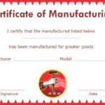 Certificate Of Compliance Template Manufacturing | Printable throughout Best Certificate Of Manufacture Template