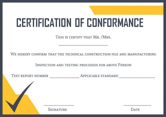 Certificate Of Conformance Template: 10 High Quality Samples in Certificate Of Conformance Template