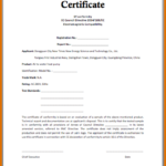 Certificate Of Conformance Template Free (1) – Templates For Certificate Of Conformance Template