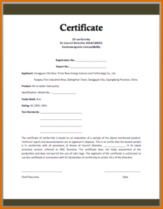 Certificate Of Conformance Template Free (1) – Templates regarding Unique Certificate Of Conformance Template Free