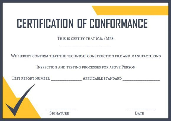 Certificate Of Conformance Template Free (6) - Templates in Certificate Of Conformance Template Free