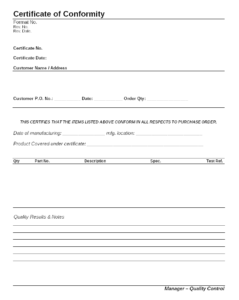 Certificate Of Conformity Format intended for Certificate Of Conformity Template Free