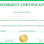 Certificate Of Conformity Sample Template | Free Certificate Pertaining To Certificate Of Conformity Template