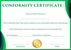 Certificate Of Conformity Sample Template   Free Certificate within Certificate Of Conformity Template Free