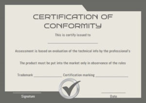Certificate Of Conformity Sample Templates   Printable pertaining to Certificate Of Conformance Template