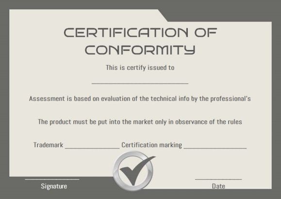 Certificate Of Conformity Sample Templates | Printable with Certificate Of Conformity Template Ideas
