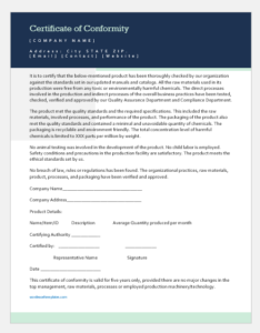 Certificate Of Conformity Template For Word   Word & Excel within Certificate Of Conformity Template Free