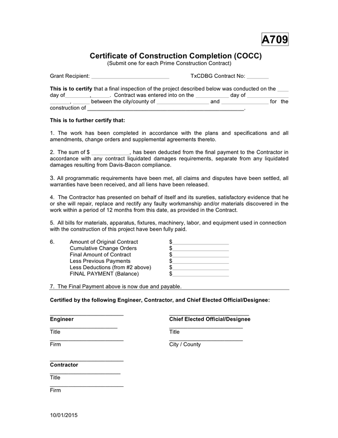 Certificate Of Construction Completion In Word And Pdf Formats with regard to Certificate Of Construction Completion