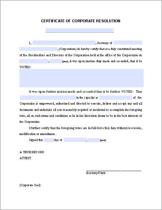 Certificate Of Corporate Resolution - Free Fillable Pdf Forms intended for Corporate Secretary Certificate Template