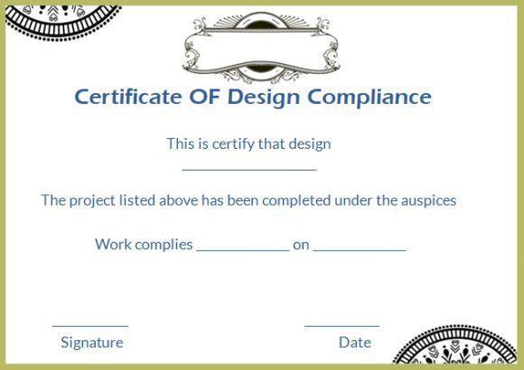 Certificate Of Design Compliance Template | Certificate Of within Certificate Of Conformity Template Ideas