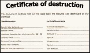 Certificate Of Destruction For Shredding | Shred Nations intended for Best Hard Drive Destruction Certificate Template
