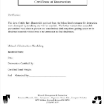 Certificate Of Destruction Template (9) | Professional Intended For Fresh Certificate Of Disposal Template