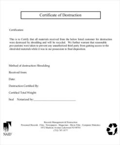 Certificate Of Destruction Template (9) | Professional Throughout New Free Certificate Of Destruction Template