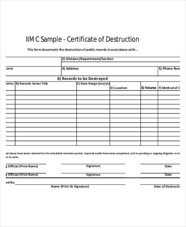 Certificate Of Disposal Template (9) - Templates Example pertaining to Certificate Of Disposal Template