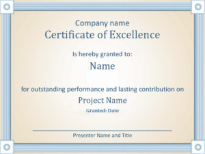 Certificate Of Employee Excellence for New Certificate Of Excellence Template Word