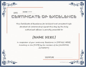 Certificate Of Excellence For Ms Word Download At Http intended for Quality Farewell Certificate Template