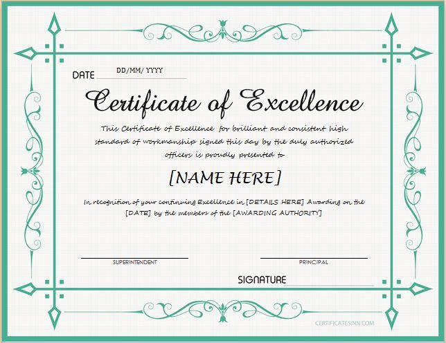 Certificate Of Excellence For Ms Word Download At Http intended for Quality Free Certificate Of Excellence Template