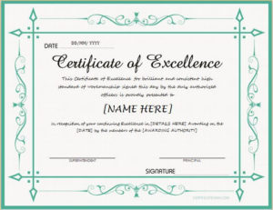 Certificate Of Excellence For Ms Word Download At Http with Fresh Certificate Of Excellence Template Free Download