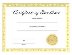 Certificate Of Excellence – Free Printable For New Free Printable Certificate Of Achievement Template