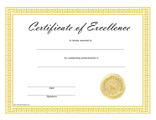 Certificate Of Excellence - Free Printable with Certificate Of Excellence Template Free Download