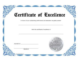 Certificate Of Excellence Template Free Download | Free throughout Free Certificate Of Excellence Template