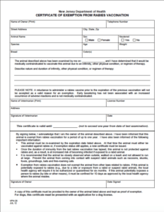 Certificate Of Exemption in Dog Vaccination Certificate Template