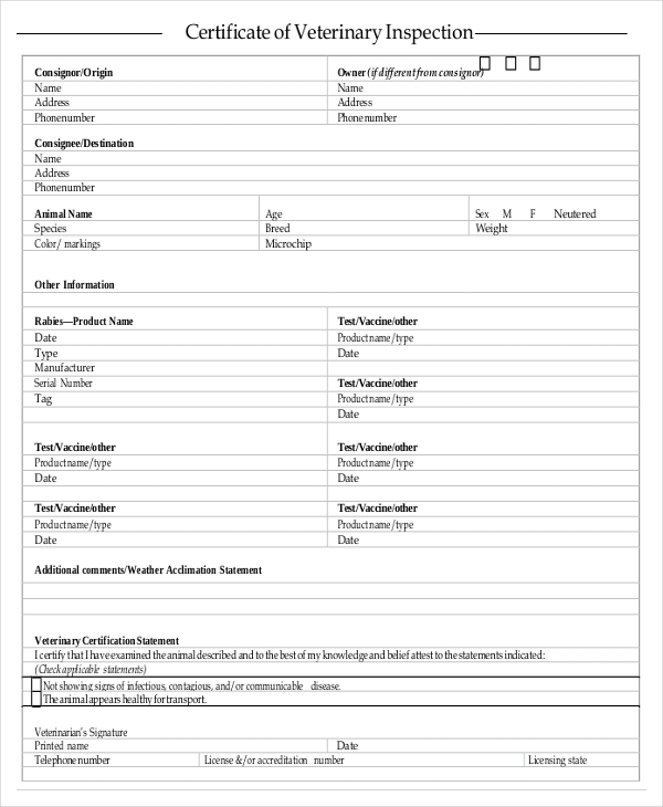 Certificate Of Inspection Template (7) - Templates Example with regard to Certificate Of Inspection Template