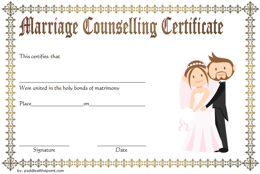 Certificate Of Marriage Counseling Template Free 3 Within Marriage Counseling Certificate Template