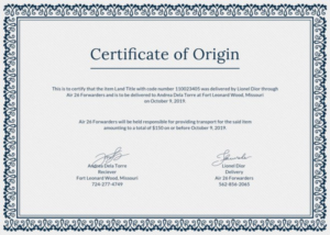 Certificate Of Origin For A Vehicle Template (7) – Templates inside Best Certificate Of Origin For A Vehicle Template