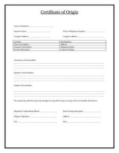 Certificate Of Origin [Template Download] | Hloom with Quality Certificate Of Origin Template Word