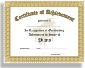 Certificate Of Outstanding Achievement In The Study Of Piano – 10 Awards  Per Package for Outstanding Achievement Certificate