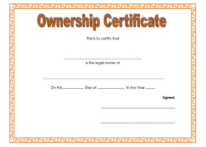 Certificate Of Ownership Llc Free Template 2 inside Fresh Ownership Certificate Templates