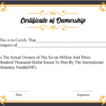 Certificate Of Ownership Template (1) – Templates Example With Download Ownership Certificate Templates Editable