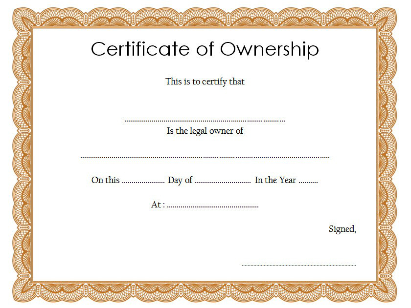 Certificate Of Ownership Template (2) - Templates Example with regard to Certificate Of Ownership Template