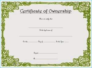Certificate Of Ownership Template (3) – Templates Example intended for Fresh Ownership Certificate Templates