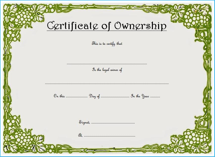 Certificate Of Ownership Template (3) - Templates Example intended for Fresh Ownership Certificate Templates