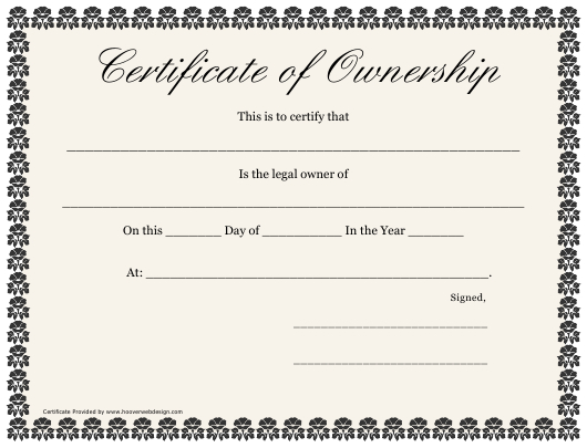 Certificate Of Ownership Template Download Printable Pdf in New Certificate Of Ownership Template