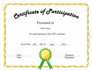 Certificate Of Participation | Certificate Of Participation for Participation Certificate Templates Free Printable