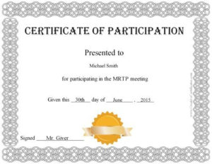 Certificate Of Participation | Certificate Of Participation within Unique Free Templates For Certificates Of Participation