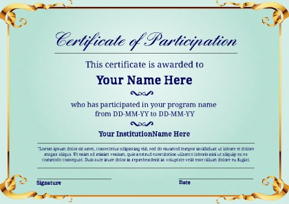 Certificate Of Participation | Certificate Templates in Best Sample Certificate Of Participation Template