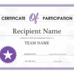 Certificate Of Participation for Best Sample Certificate Of Participation Template