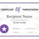 Certificate Of Participation for Unique Templates For Certificates Of Participation
