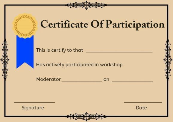 Certificate Of Participation For Workshop | Workshop throughout Best Certificate Of Participation In Workshop Template