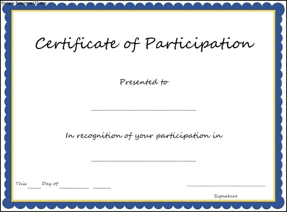 Certificate Of Participation Format Pdf Great Certificate with Certificate Of Participation Template Doc 10 Ideas