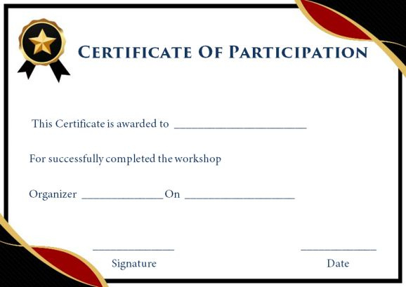 Certificate Of Participation In Workshop Template: 10+ with regard to Certificate Of Participation In Workshop Template