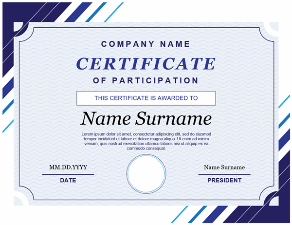 Certificate Of Participation inside New Certificate Of Participation Template Word