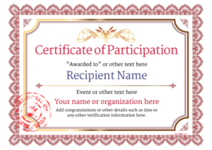 Certificate Of Participation Template Doc (4) – Templates regarding Certificate Of Participation Template Doc