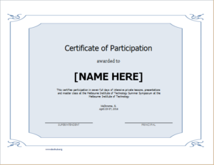 Certificate Of Participation Template For Word | Document Hub within Certificate Of Participation Template Doc