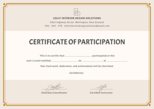 Certificate Of Participation Template Word (4) – Templates with New Certificate Of Participation Template Word