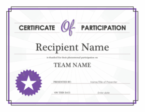 Certificate Of Participation With Certificate Of Participation Word Template